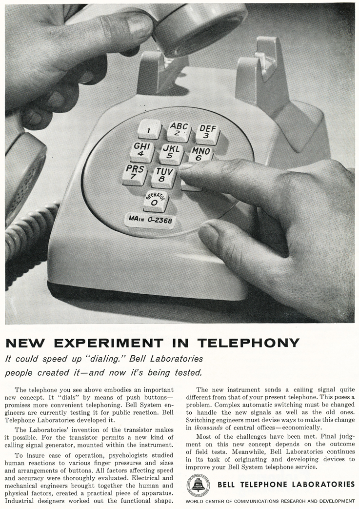 Bell Labs working on touchtone phones