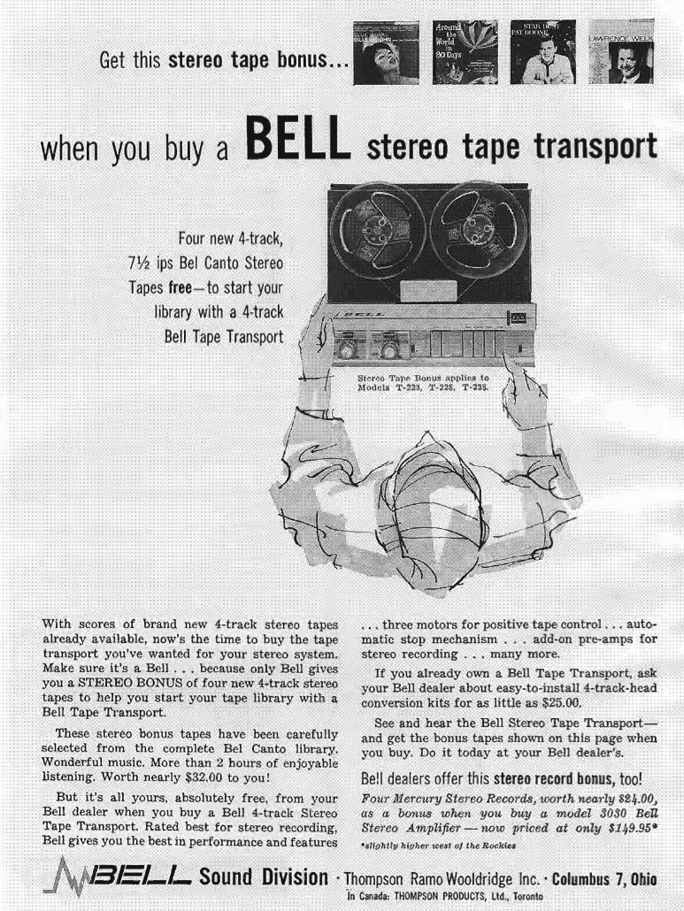 1959 Bell ad featuring the Bell Transport reel to reel tape recorder in Reel2ReelTexas' vintage recording collection