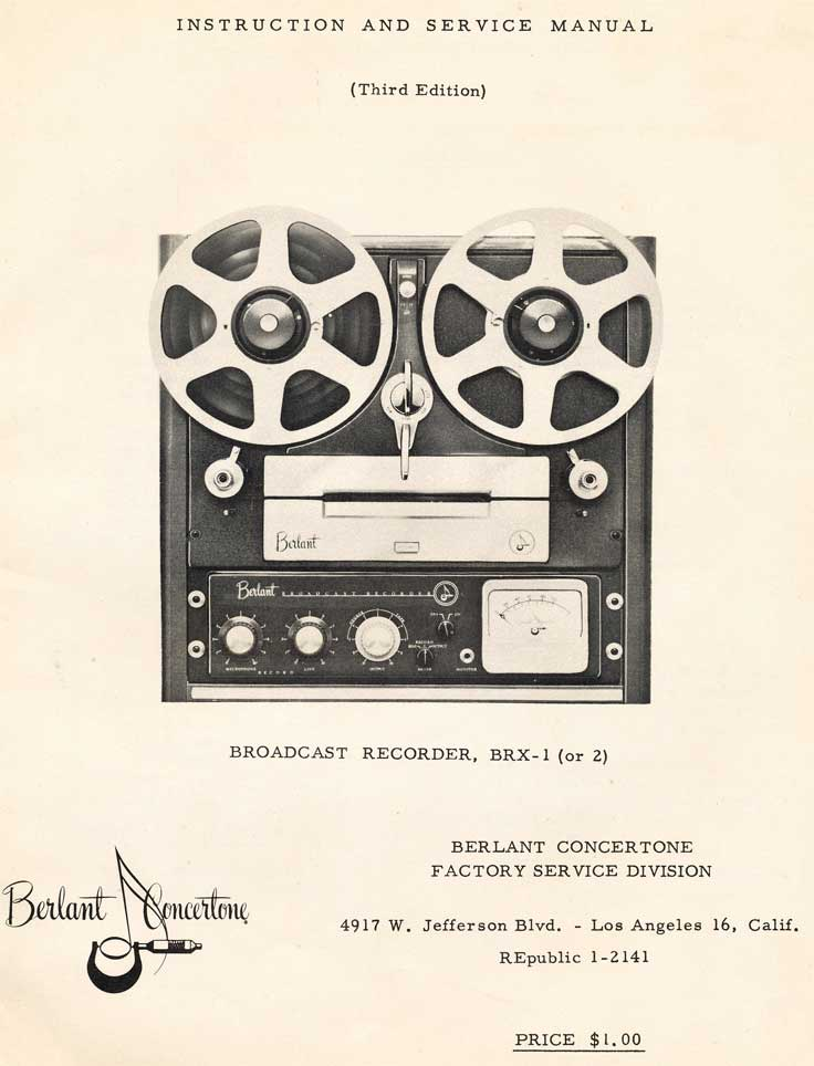 Berlant BRX-1 manual cover in the Reel2ReelTexas.com's vintage recording collection
