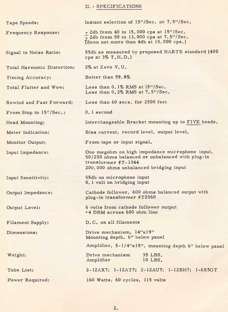 Berlant BRX-1 specifications cover in the Reel2ReelTexas.com's vintage recording collection