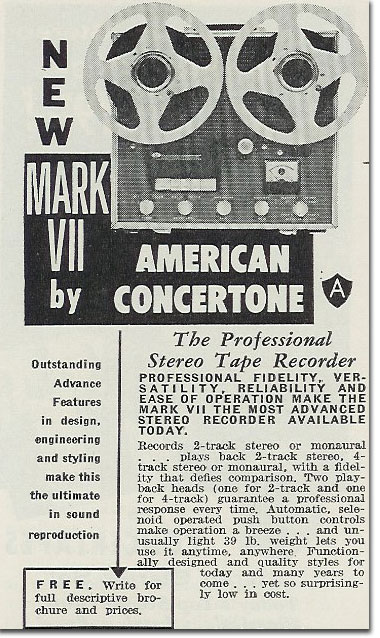 picture of Concertone tape recorder ad from 1959 Tape Recording magazine