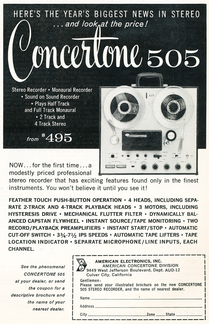 1959 ad for the American Concertone 505 reel to reel tape recorder built by Teac in Reel2ReelTexas.com's vintage recording collection
