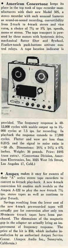 1959 review of the American Concertone 505 reel to reel tape recorder built by Teac in Reel2ReelTexas.com's vintage recording collection