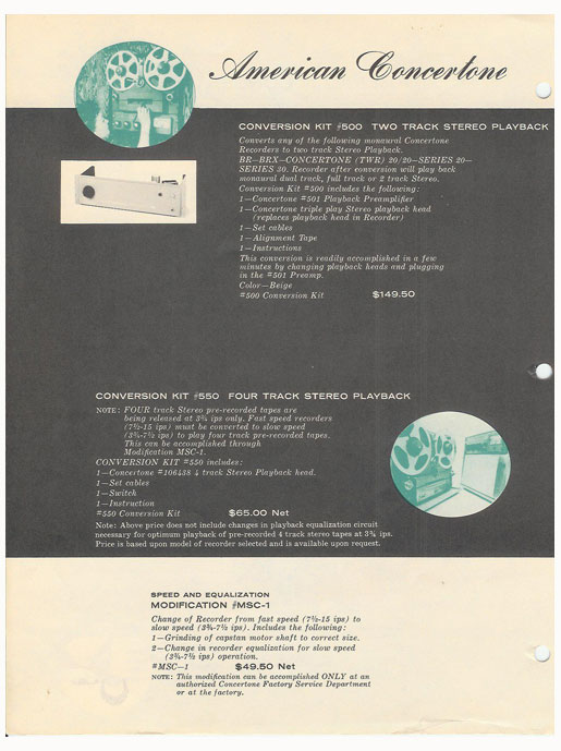 picture of 1959 American Concertone Berlant recorder  ad in Reel2ReelTexas' vintage reel to reel tape recorder documentation collection