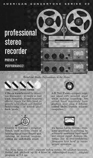 1959 ad for the American Concertone Series 33 professional reel to reel tape recorder in the Phnatom Productions' vintage recording collection