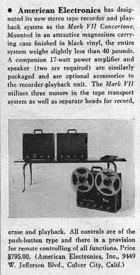1959 review of the American Concertone Mark VII  reel to reel tape recorder built by Teac in Reel2ReelTexas.com's vintage recording collection