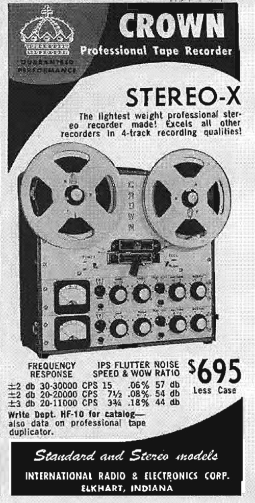 1959 ad for the Crown Stereo X reel to reel tape recorders in Reel2ReelTexas.com's vintage recording collection