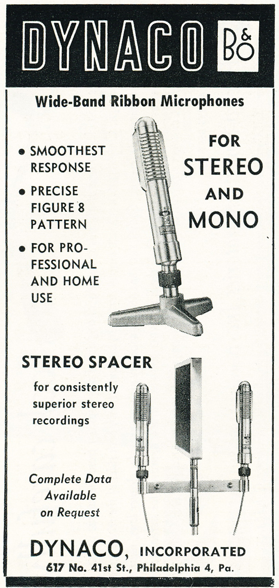 1959 ad for Dynaco microphones in Reel2ReelTexas.com's vintage recording collection