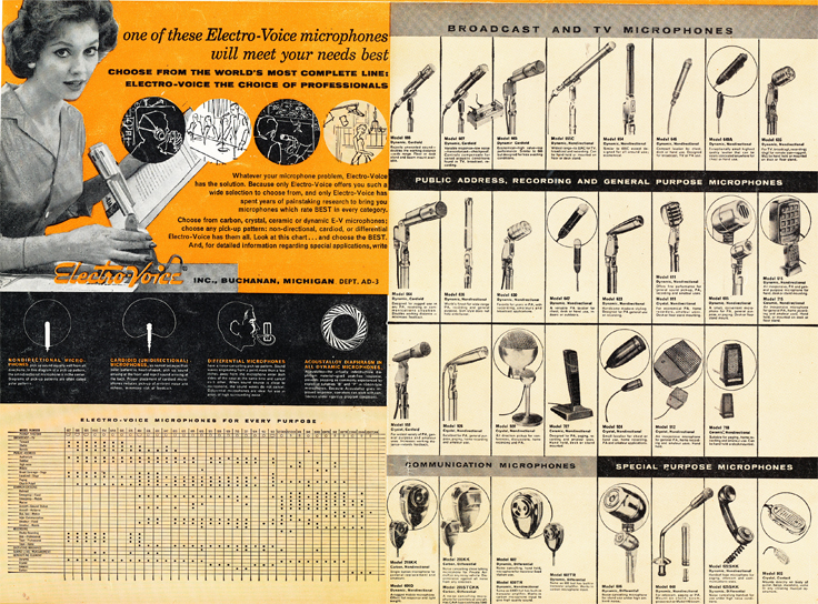 1959 ad for Electro Voice full range of microphones in Reel2ReelTexas.com's vintage recording collection
