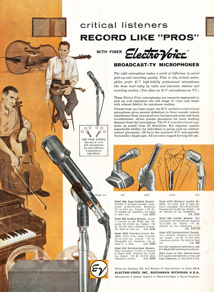 1959 ad for Electro Voice broadcast microphones including the EV 666 in Reel2ReelTexas.com's vintage recording collection
