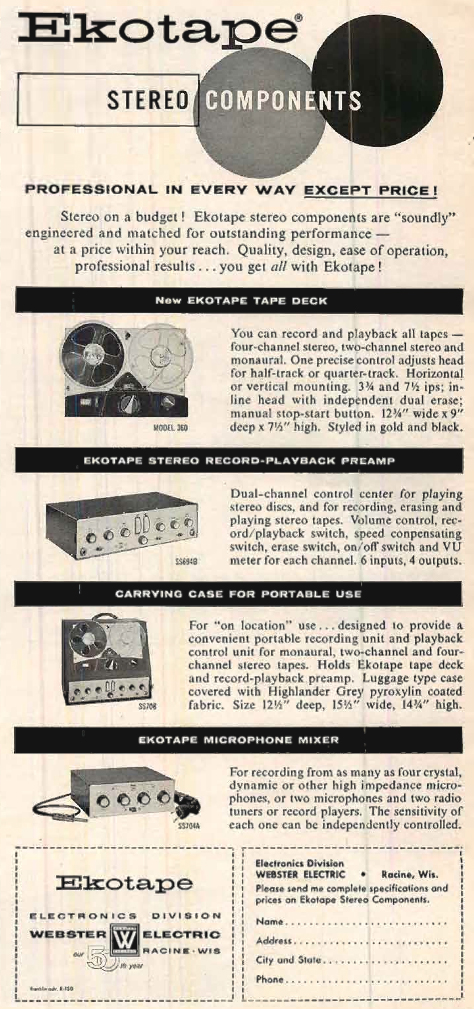 1959 Ad for the Bell Stereo reel tape recorder  tape in Reel2ReelTexas.com vintage tape recorder collection