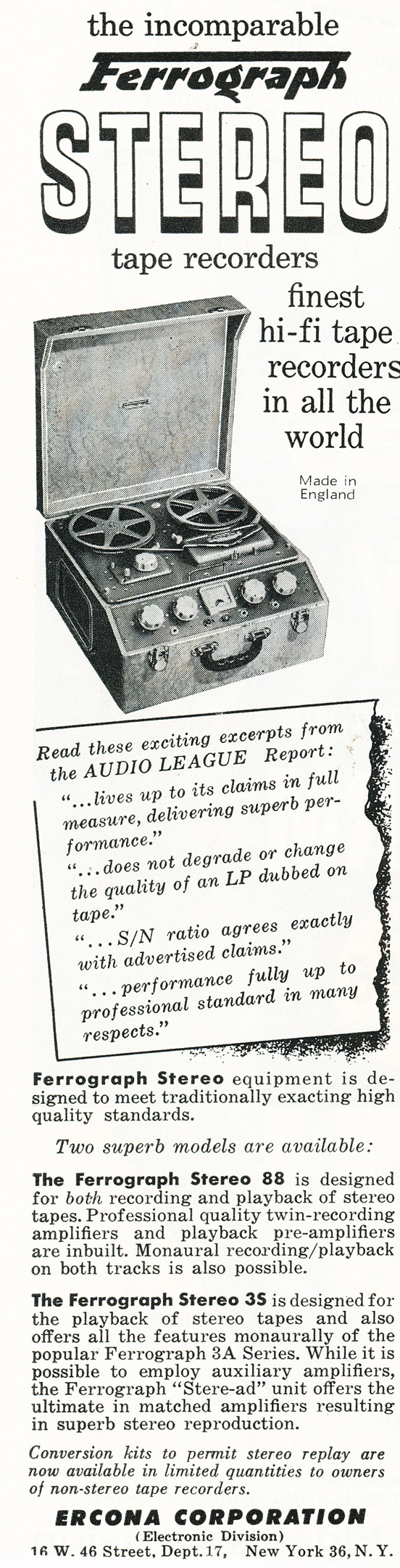 1959 ad for the Ferrograph 88 and 35 reel to reel tape recorders in Reel2ReelTexas.com's vintage recording collection