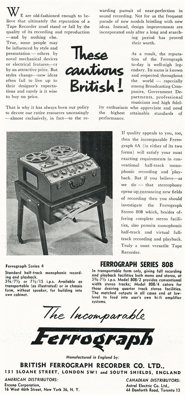 1959 ad for the Ferrograph Series 4A, Stereo 808 and Stereo 808/4 reel to reel tape recorders in Reel2ReelTexas.com's vintage recording collection