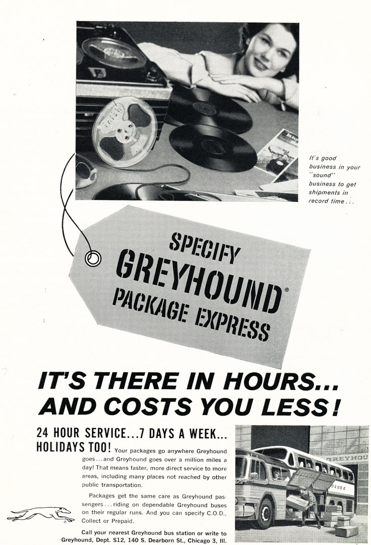 1959 ad for Greyhound bus lines to ship sound equipment in Reel2ReelTexas' vintage recording collection