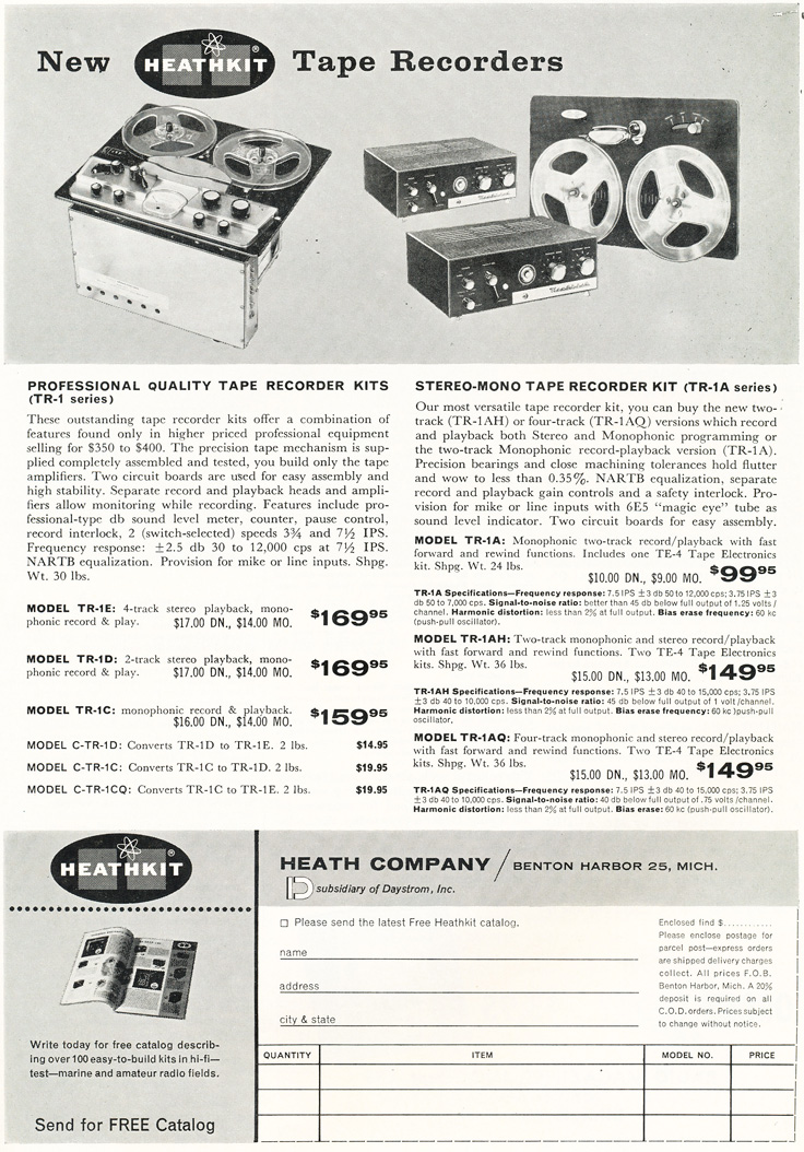 1959 HeathKit ad for their reel to reel tape recorder kits in Reel2ReelTexas.com's vintage recording collection