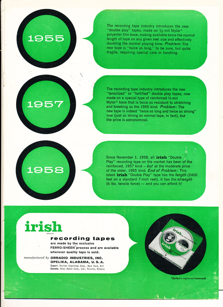 1959 ad for Irish reel to reel recording tape in Reel2ReelTexas.com's vintage recording collection