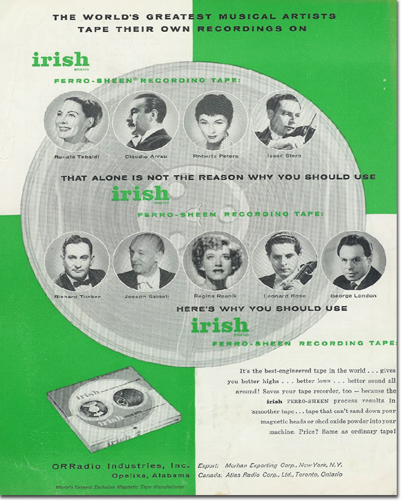 1959 Irish reel to reel recording tape ad featuring Isaac Stern, Leonard Rose, ReiataTebaldi, Claudio Arrau, Roberta Peters, Richard Tucker, Reginna Reanik, George London & Joseph Szigeti in Reel2ReelTexas.com's vintage recording collection