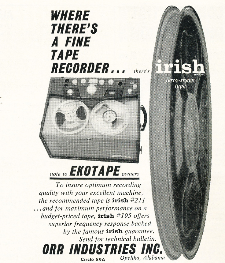 1959 ad for Irish reel to reel recording tape featuring the EkoTape reel to reel tape recorder in Reel2ReelTexas.com's vintage recording collection