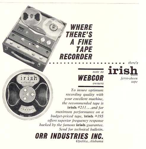 1959 Ad for Irish recording tape in Reel2ReelTexas.com vintage tape recorder collection