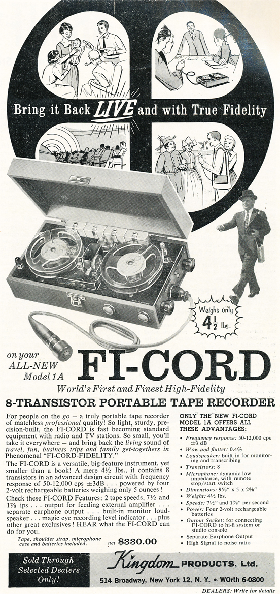 1959 ad for the Kingdom Fi-Cord reel tape recorder