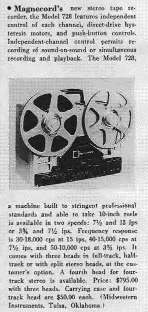 1959 review of the Magnecord reel tape recorder  tape in Reel2ReelTexas.com vintage tape recorder collection