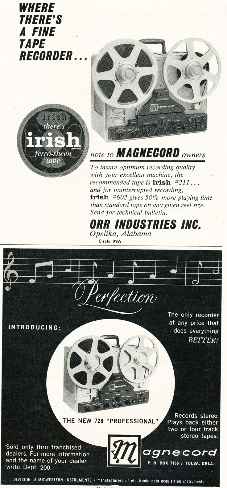 1959 ad for Irish recording tape featuring the Magnecord reel to reel tape recorder in Reel2ReelTexas.com's vintage recording collection