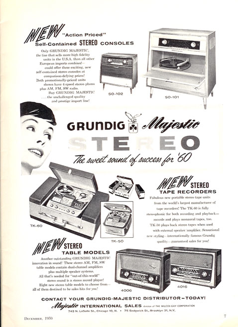 1959 Ad for the Majestic reel tape recorder  tape in Reel2ReelTexas.com vintage tape recorder collection