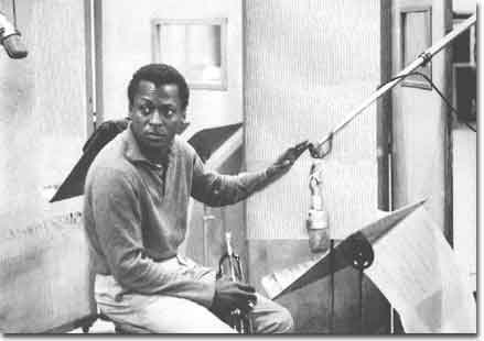picture of Miles Davis in 1959 recording session