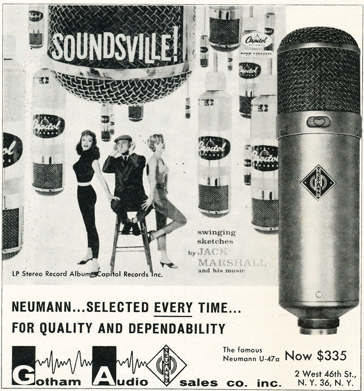 1959 ad for Neumann U-47A microphones in   Reel2ReelTexas.com's vintage recording collection