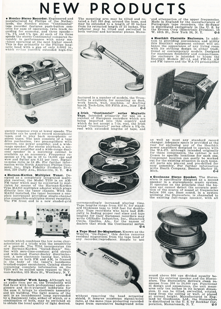 1959 New Products listin in Reel2ReelTexas.com's vintage recording collection