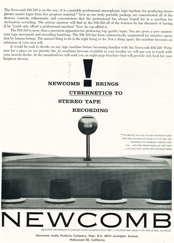 1959 ad for the Newcomb reel to reel tape recorder in Reel2ReelTexas.com's vintage recording collection