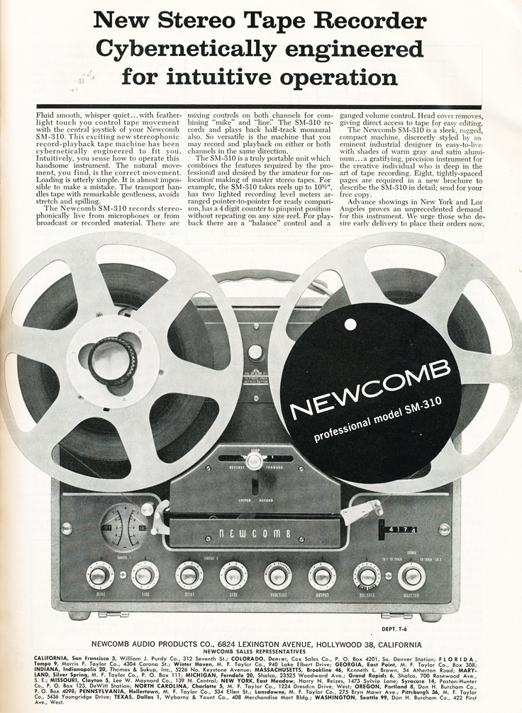 1959 ad for the Newcomb SM-310 reel to reel tape recorder in Reel2ReelTexas.com's vintage recording collection