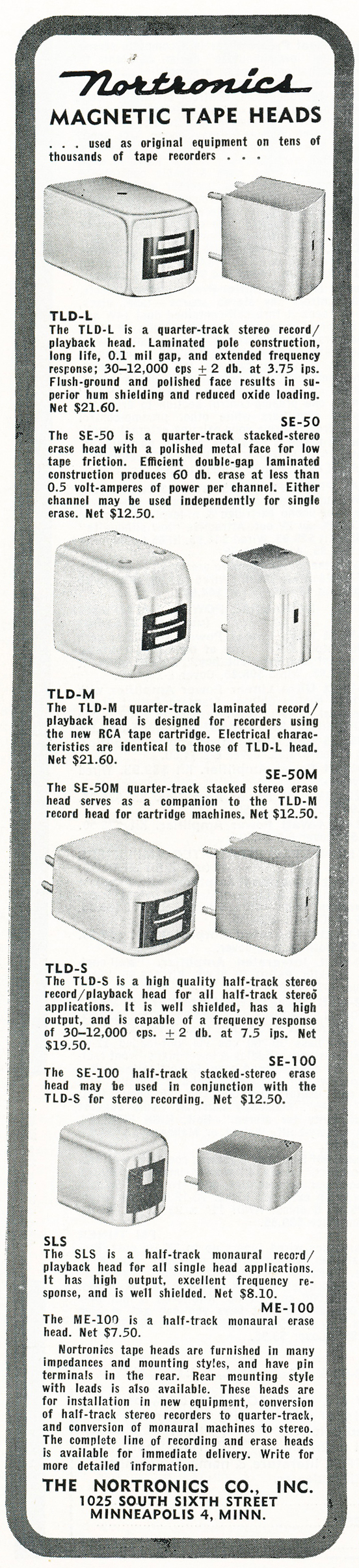 1959 ad for Nortronics reel tape recorder heads in Reel2ReelTexas.com's vintage recording collection