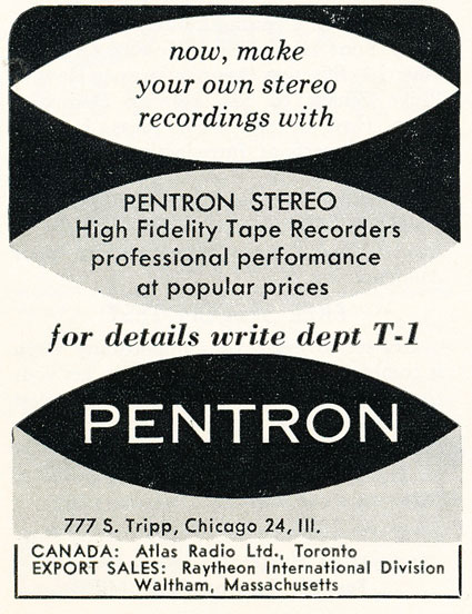 1059 ad for Pentron reel to reel tape recorders in   Reel2ReelTexas.com's vintage recording collection