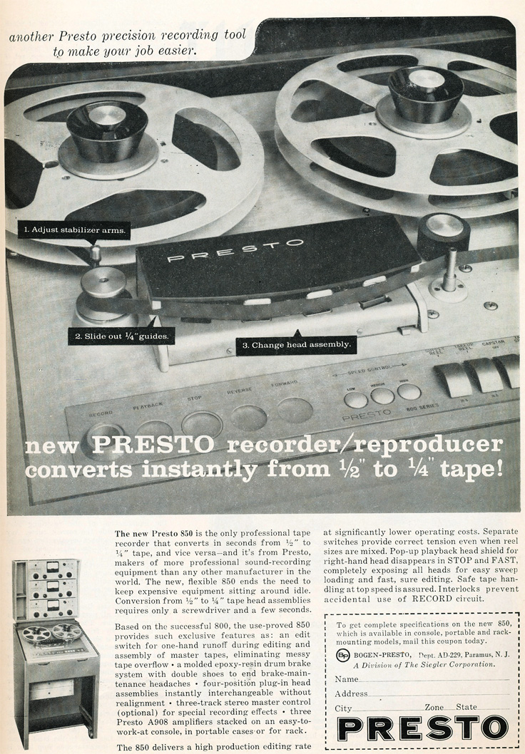 1959 ad for the Presto 850 professional reel to reel tape recorder in Reel2ReelTexas.com's vintage recording collection
