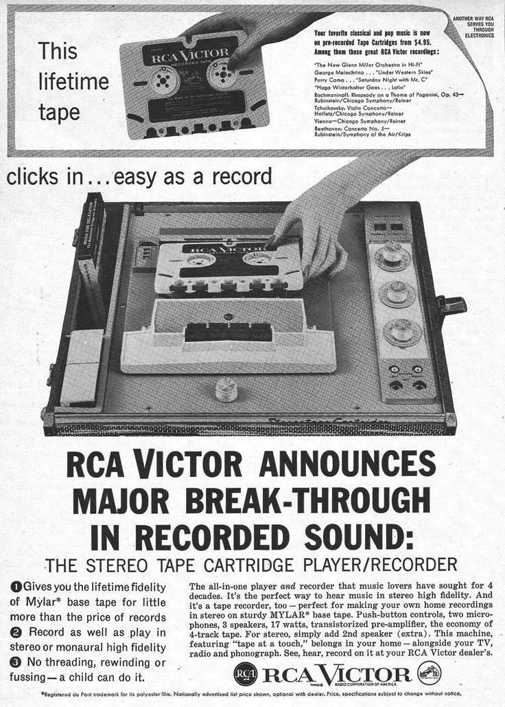 Ad for RCA IYC 11 cartridge recorder in the Reel2ReelTexas.com collection