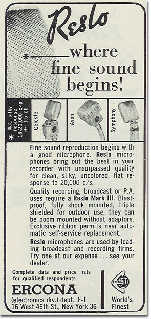 1959 Reslo microphone review in the Reel2ReelTexas.com's vintage recording collection