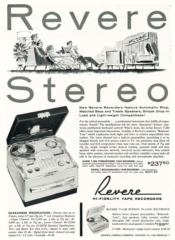 1959 ad for Revere reel to reel tape recorders in   Reel2ReelTexas.com's vintage recording collection