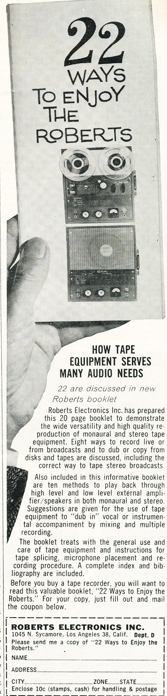 1959 Roberts reel tape recorder ad in Reel2ReelTexas.com's vintage recording collection