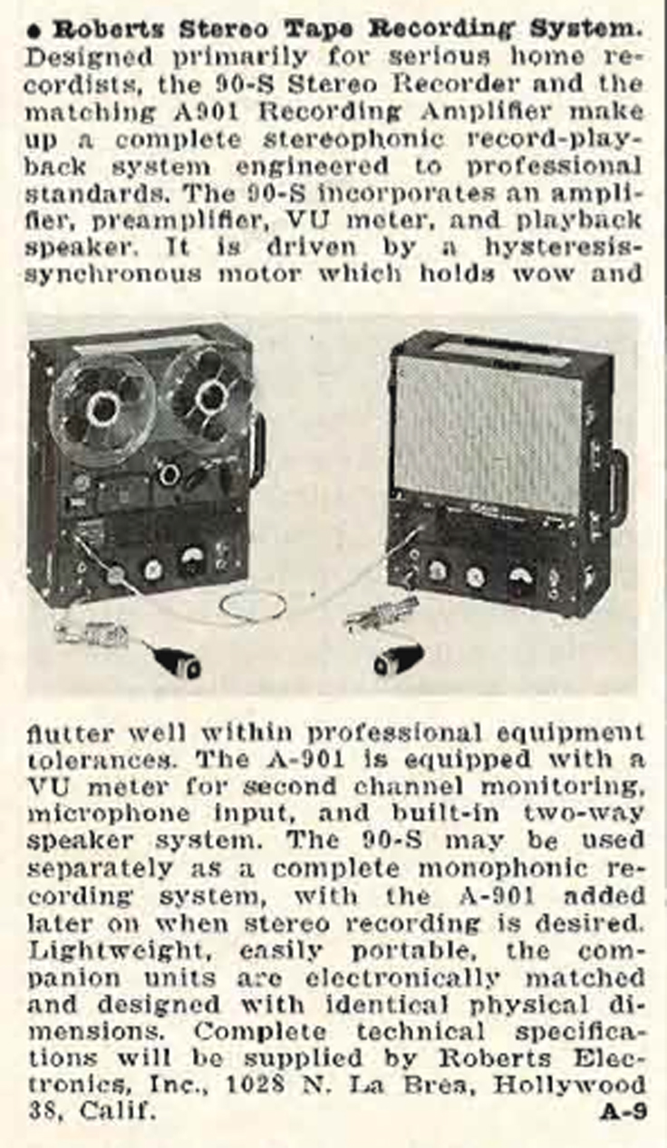 1959 Roberts 90S reel tape recorder review in Reel2ReelTexas.com's vintage recording collection