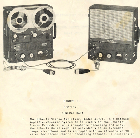 1959 Roberts A-901 stereo speaker system manual pages in Phantom Productions' reel to reel tape recorder collection