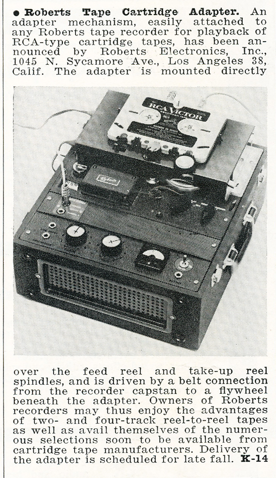 1959 profile of the Roberts cartridge adapter reel tape recorder in Reel2ReelTexas.com's vintage recording collection