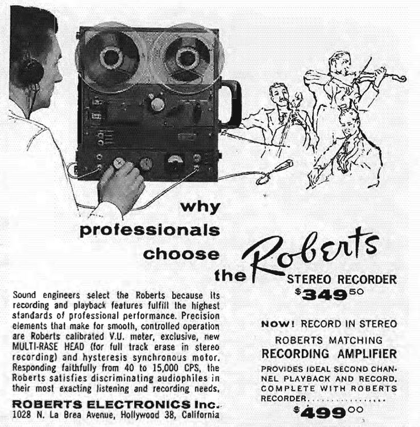 1959 ad featuring Roberts new professional reel to reel tape recorder system in