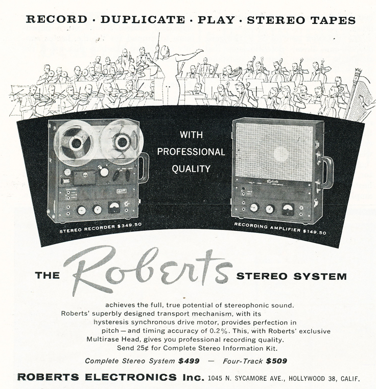 1959 ad featuring Roberts new stereo reel to reel tape recorder system in Reel2ReelTexas.com's vintage recording collection