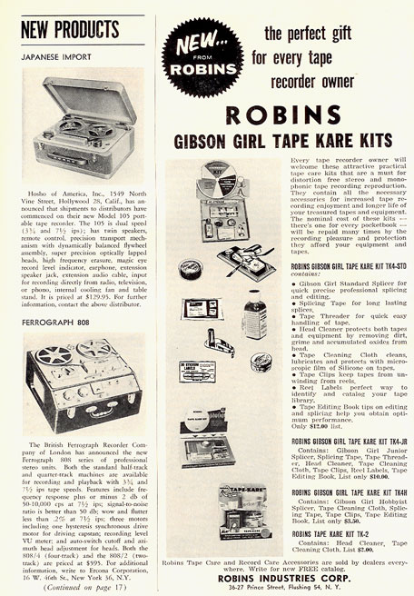 1959 Ad for Robins tape recorder accessories in Reel2ReelTexas.com vintage tape recorder collection