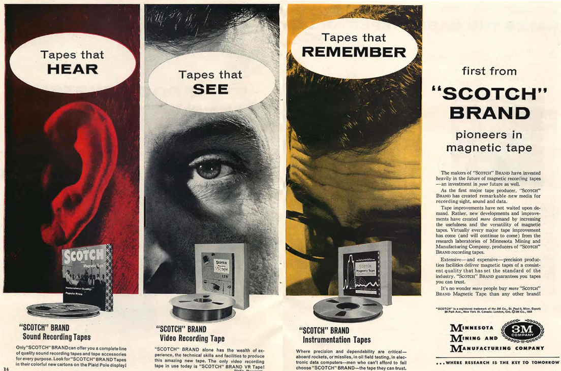1959 Ad for Scotch audio, video and professional recording tape in Reel2ReelTexas.com vintage tape recorder collection