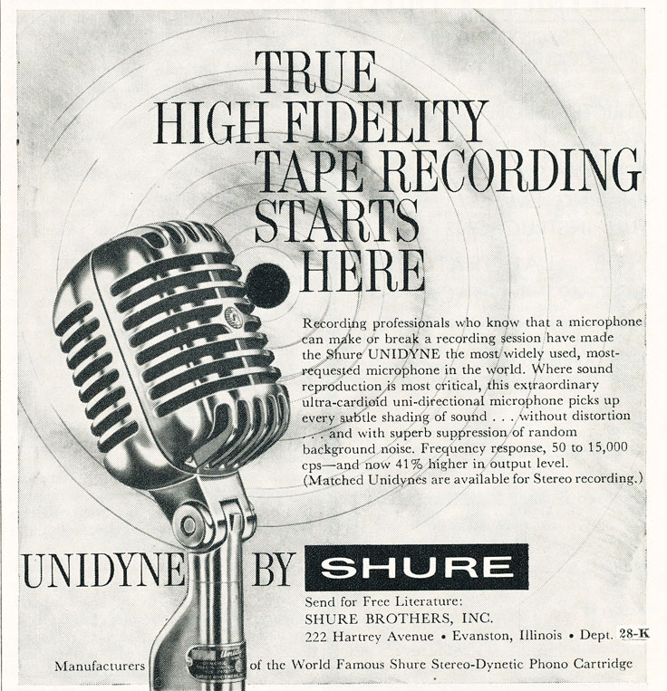 1959 ad for the Shure Unidyne microphone in Reel2ReelTexas.com's vintage recording collection