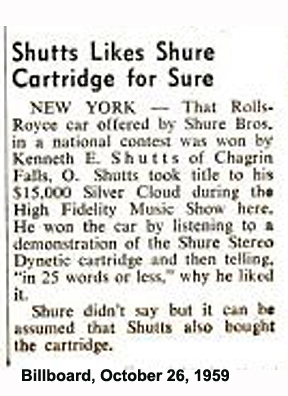 October 26, 1959 Billboard story about the winner of the Shure Rolls Royce