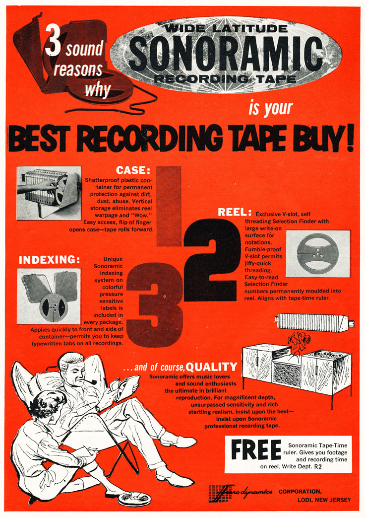1959 ad for Sonoband reel to reel recording tape in Reel2ReelTexas.com's vintage recording collection