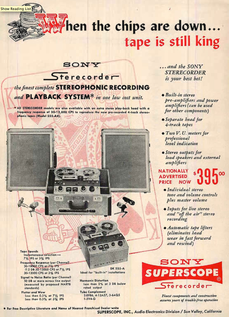 1959 ad for the Sony Model 555 A4 and the Sony DK-555A reel to reel tape recorders  in Reel2ReelTexas.com's vintage recording collection